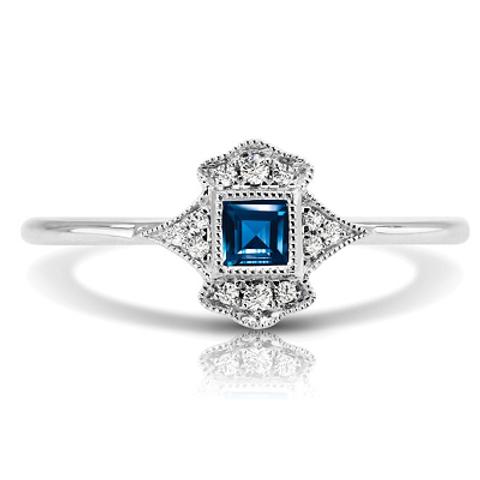 14K W SAPPHIRE & DIAMOND FASHION RING;DIAMOND=1/20 CTTW;BLUE SAPPHIRE=1/5 CTTW