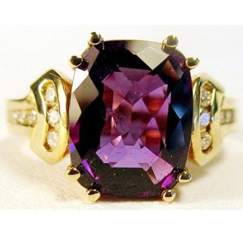 2.2 ct Checkerboard Antique Cushion Cut Amethyst & Diamond Ring