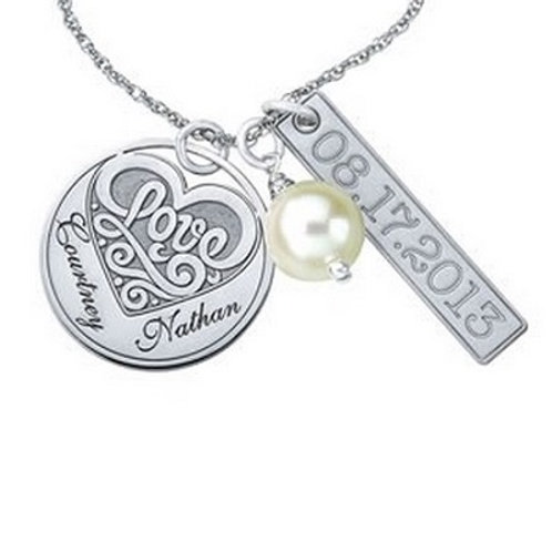 SS Personalized Couples Anniversary Necklace