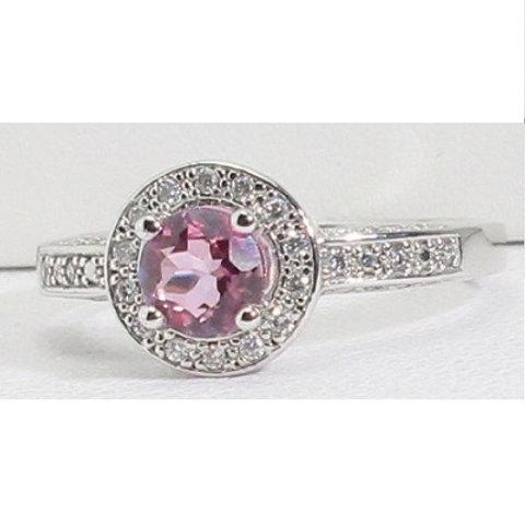 10K White Gold, Pink Tourmaline & Diamond Halo Engagement Ring