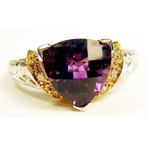 Checkerboard Trillion Amethyst & Diamond Ring