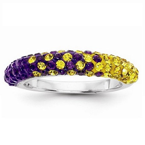 University of Northern Iowa SS and Swarovski Crystal Ring