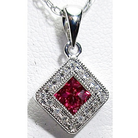 Ruby & Diamond Halo Pendant