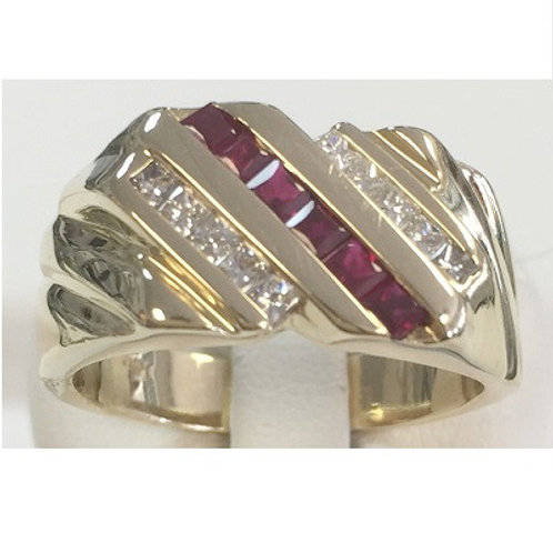 14K Yellow Gold Mens Diamond & Ruby Ring
