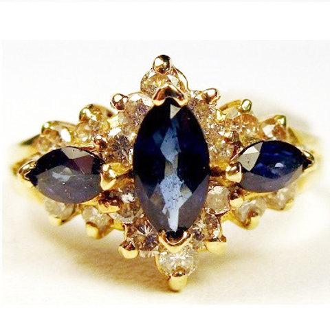 Marquise 3-Stone Blue Sapphire & Diamond Ring