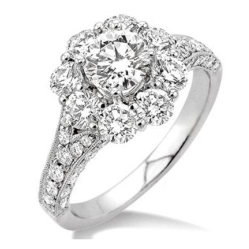 1 1/2 Ctw Diamond Flower Semi-Mount Ring