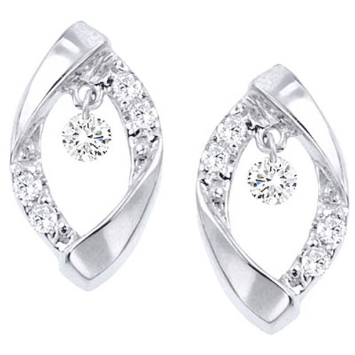 14K White Gold Diamond Fashion Earrings