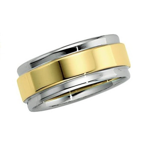 14K White & Yellow 7.5mm Comfort-Fit Flat-Edge Band