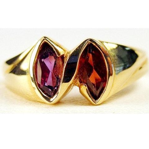 Marquise Amethyst & Garnet 2-Stone Ring