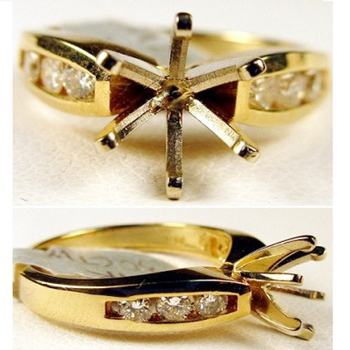14K Yellow Gold & Diamond Engagement Ring Mounting