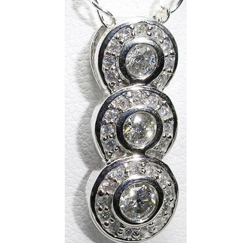 1/2 CTW Diamond Halo 3-Stone Pendant