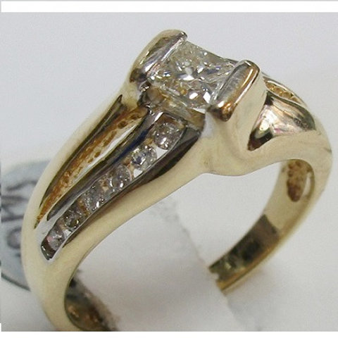 14K Yellow Gold & Diamond Engagement Ring