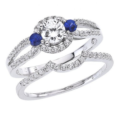 14K White Gold Qpid .77 Ct Diamond and Sapphire Halo Bridal Ring Set