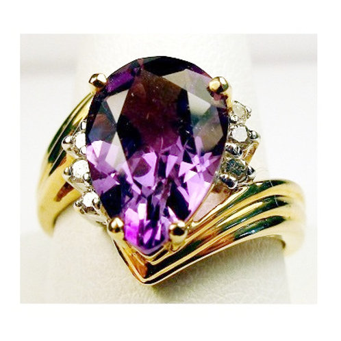 Pear Shaped Amethyst & Diamond Ring
