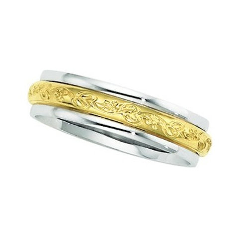 14K Gold Two Tone Men's Wedding Band