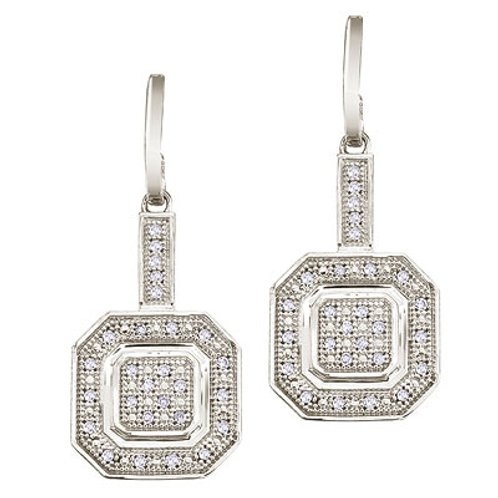 14K White Gold Double Square Dangling Diamond Earrings