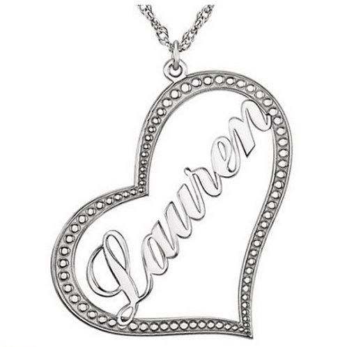 SS Nameplate Heart Necklace