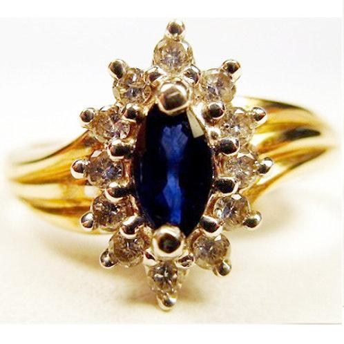 Marquise Blue Sapphire & Diamond Ring