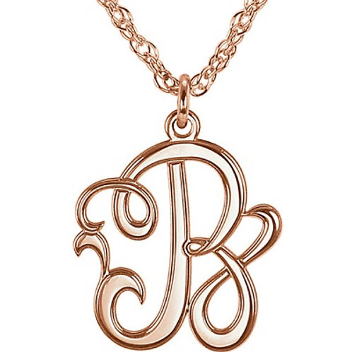 SS 15mm Single Letter Script Monogram Necklace