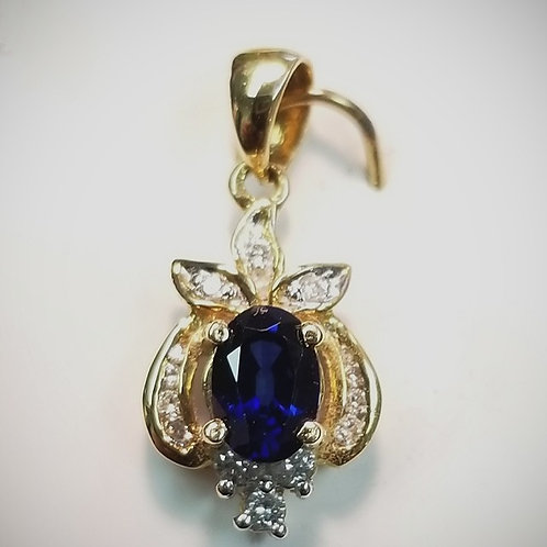 18kt Gold Diamond and Sapphire Pendant