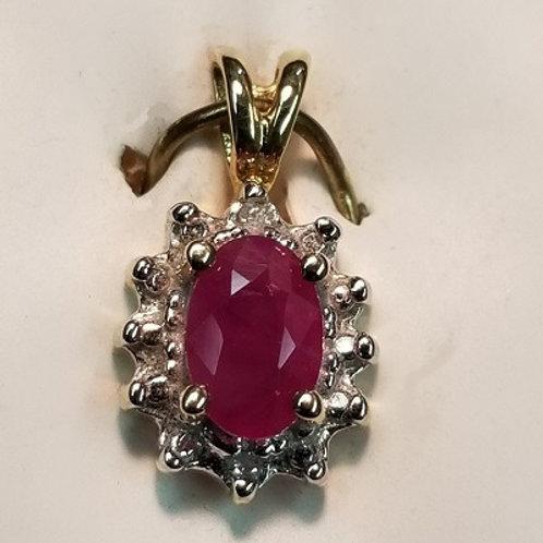 Ruby and Diamond 14K Pendant