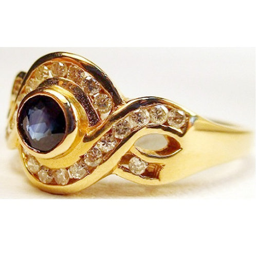 Round Blue Sapphire & Diamond Ring