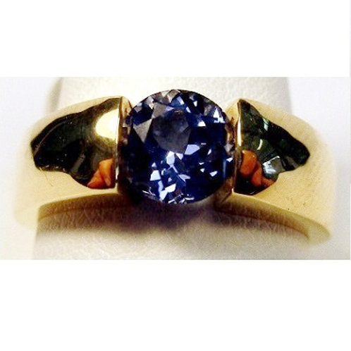 Round Created Tanzanite Ring