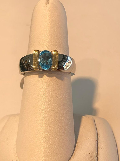 Two Tone Oval Blue Topaz Ring