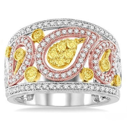 7/8 Ctw Round Cut Diamond Fashion Ring in Tri Color Gold