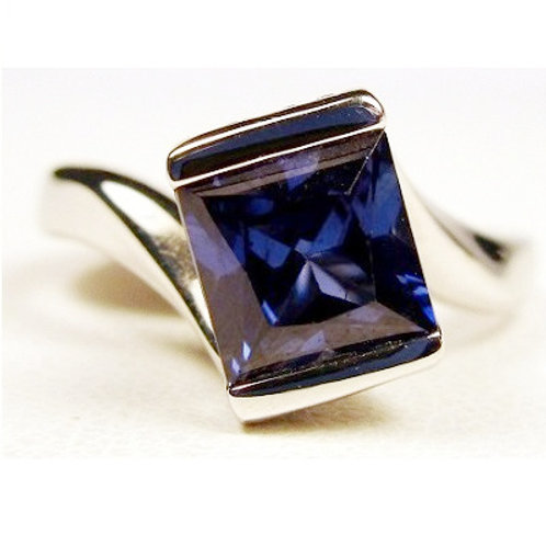 Princess Cut Created Blue Sapphire & Diamond Ring