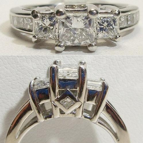 14K White Gold 3-Stone Princess Engagement Ring