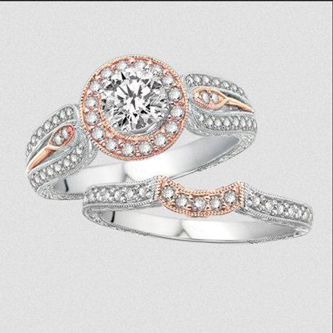 14K White and Rose Gold Wedding Set | Ash26380
