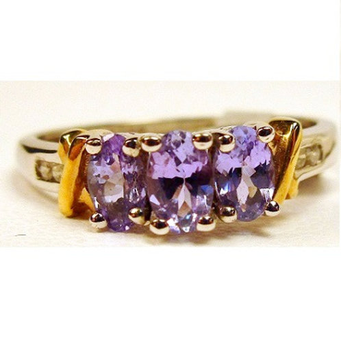 10k Two-Tone 3-Stone Tanzanite & Diamond Ring