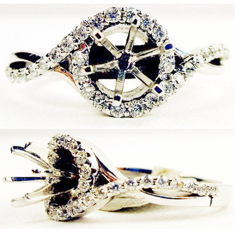 14K White Gold & Diamond Halo Engagement Ring