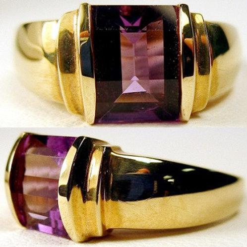 Bar Cut Amethyst Ring