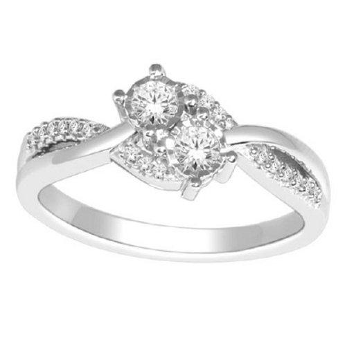 14KT DIAMOND 'U&ME' BYPASS RING D.25