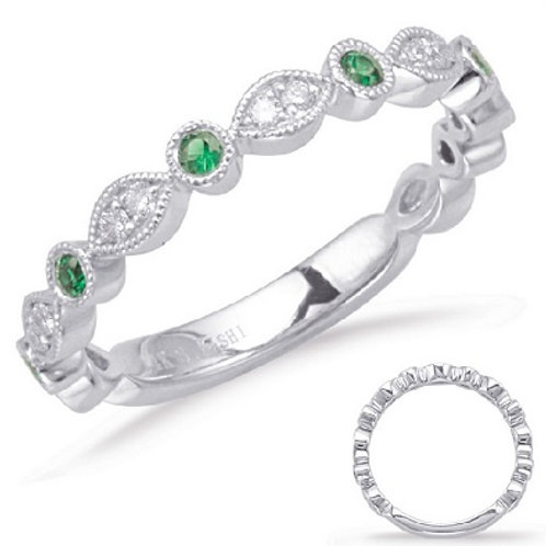 Stackables! 0.30 ctw. WHITE GOLD EMERALD & DIAMOND RING In 14K WHITE GOLD