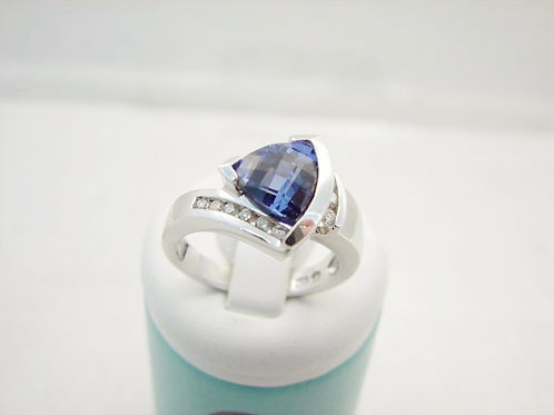 14K White Gold Lab Created Sapphire and Diamond Ring