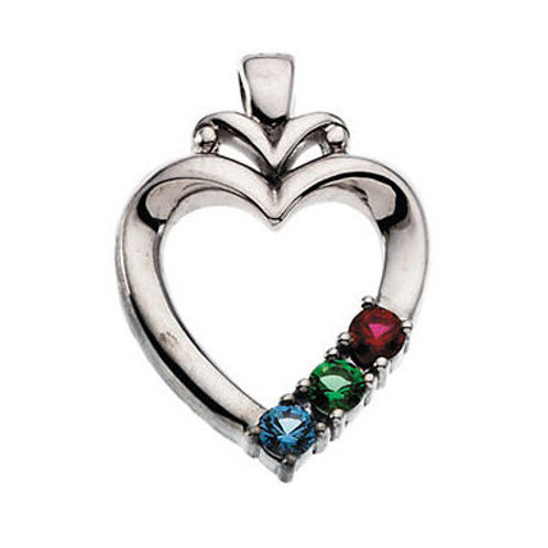 14K White Gold Mother's Heart Pendant