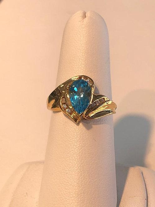 Blue Topaz Pear Ring