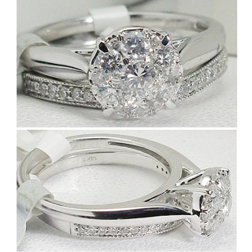 10K White Gold & Diamond Cluster Wedding Set