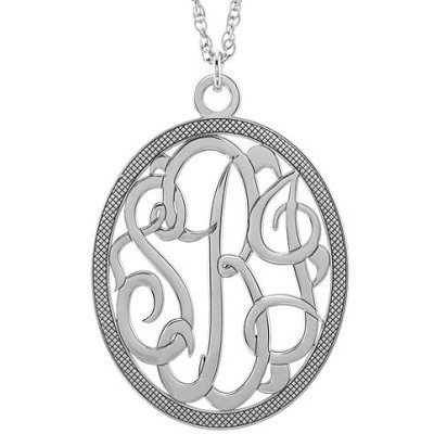 this 28x24mm 3 letter script monogram necklace is available in 14k white rose and yellow gold chain length comes in either 16 or 18