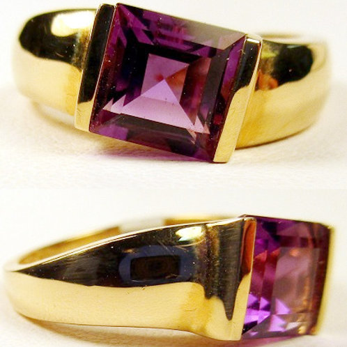 Step Princess Cut Amethyst Ring