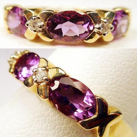 Oval Amethyst & Diamond 3-Stone Ring