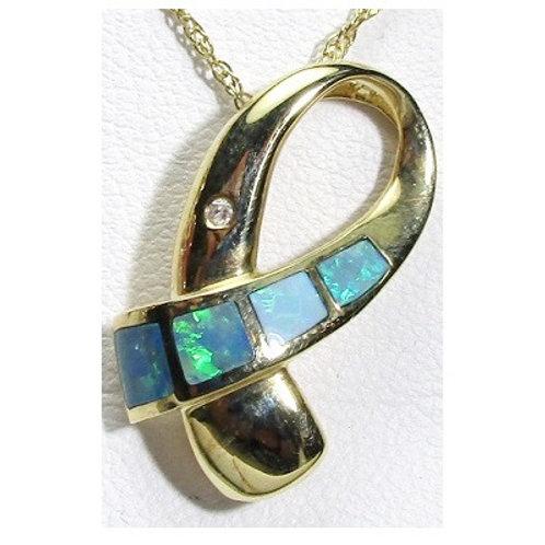 Black Opal & Diamond Ribbon Pendant