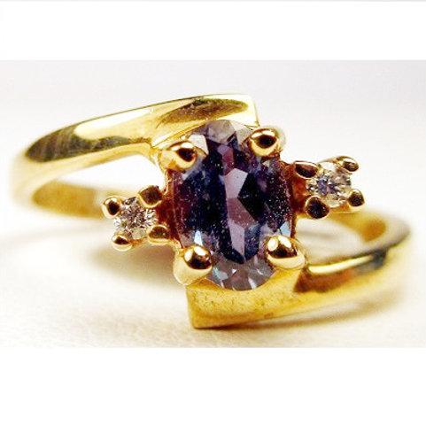 Oval Created Alexandrite & Diamond Ring