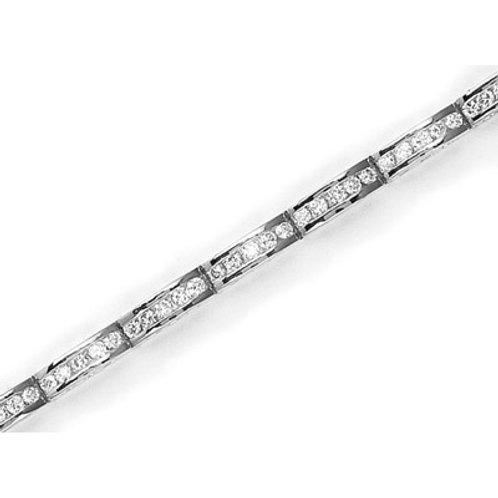 14K White Gold 2 ct Diamond Channel Bracelet