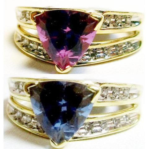 Color Change Trillion Mystic Topaz & Diamond Ring