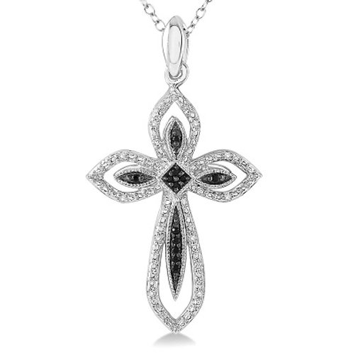 1/10 Ctw Round Cut White and Black Diamond Cross Pendant in Sterling Silver with