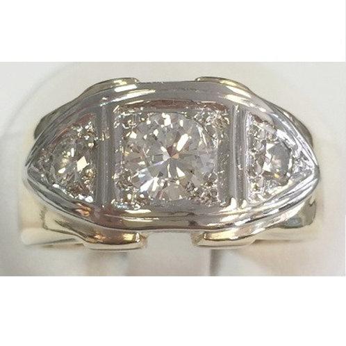 14K Two-Tone Mens Diamond Ring